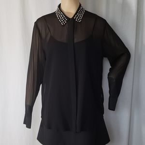 DKNY BLACK SIL BLOUSE WITH EMBELLISHED COLLAR